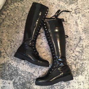 Zara Knee High Combat Boots